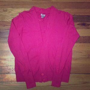 Bright pink 2-button Worthington cardigan, medium